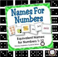 K-1 math cards, game, and printables for names for numbers 1-12. Equivalent forms in this set include ten frames, tally marks, pennies, number word, addition, and subtraction.   $ https://www.teacherspayteachers.com/Product/Equivalent-Numbers-Names-for-Numbers-1-12-142217
