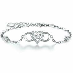 925 Plaqué Argent Bracelet Top Band Crystal 13 Charms Bijoux Fille Bracelet Jonc