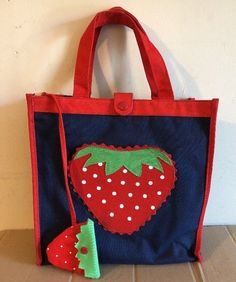 74e71c431a5 Vintage 60s 70s STRAWBERRY Cotton Canvas Vinyl TOTE BAG Retro Cute CHANGE  PURSE