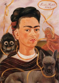 Frida Kahlo (Mexican, 1907 - 1954) 'Self Portrait with small Monkey', 1945 (#33)