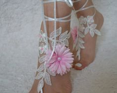 Ivory Silver Lace Barefoot Beach wedding barefoot by UnionTouch Barefoot Sandals Wedding, Barefoot Beach, Bridal Sandals, Wedding Shoes, Blue Sandals, Bare Foot Sandals, Pearl Flower, Lace Flowers, French Lace