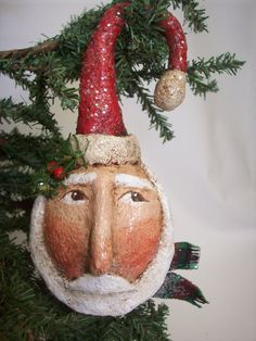 Primitive Paper Mache Folk Art Santa Ornament