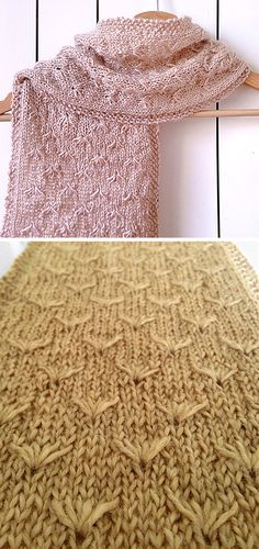 Free Knitting Pattern for Dandelion Scarf - Scarf knit with the dandelion or flower stitch. DK weight yarn. Designed by Leneta Groshong