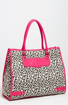 REBECCA MINKOFF Cheetah TOTE in Natural with Bright Pink LEATHER trim 10TICHXTR2 #RebeccaMinkoff #TotesShoppers