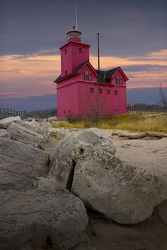 """Big Red"" #Lighthouse - Holland, #Michigan by Randall Nyhof - http://dennisharper.lnf.com/"