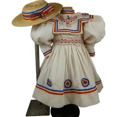 Marvelous French white pique mariners/sailors antique dolls dress with tricolore French flag colors and matching straw hat