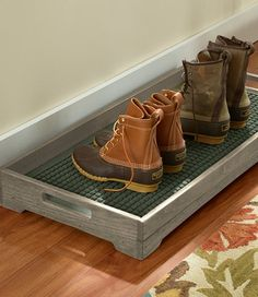 Find the best Rustic Wooden Boot Tray at L. Our high quality home goods are designed to help turn any space into an outdoor-inspired retreat. Unique Furniture, Rustic Furniture, Shoe Tray, Boot Rack, Boot Storage, Apartment Entryway, Garage Entryway, Narrow Entryway, Entry Closet