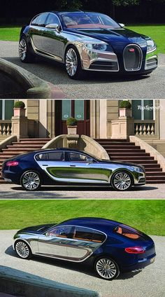 Bugatti 16C Galibier -- 4 door race car! Engine is a front-mounted, 8.0L, twin-turbocharged W16 engine that delivers power via permanent four wheel drive -- Comparable to the quad-turbocharged unit used in the Bugatti Veyron. Downside: Still only a concept car.