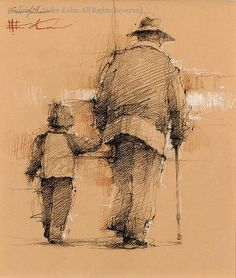 Grandfather - Conte by Andre Kohn
