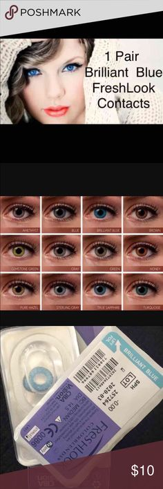 "1 Pair FreshLook Brilliant Blue Colored Contacts 1 Pair Reusable  2 pair =$18  3Pair = $27  ""FreshLook Colorblends contact lenses offer a wide palette of beautiful colors to enhance your eye color in a natural way.   Non Prescription. Cosmetic Only.   Expiration: 2020-03 Diameter: 14.5 Price per box: 1 box = 1 pair Shipping: Same day or Next day  Available colors:  Blue, Brilliant Blue, turquoise, true Sapphire, green, gemstone Green, pure Hazel,honey, Gray, Sterling Gray Nike, Victoria…"