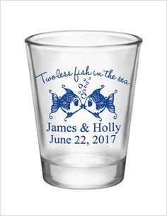 Wedding Favors Two less fish in the Sea Kissing Fish Shot Glasses 1.5oz Glass Shot Glasses Custom Personalized Fishing Wedding Favor