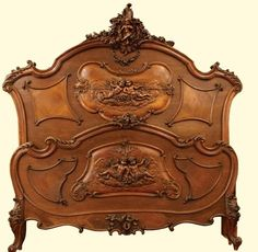 Beautiful heavily carved Louis XV walnut matchbook veneer bed adorned with cupids. Dimensions: Headboard x on Sep 2012 Upscale Furniture, Furniture Ads, Home Decor Furniture, Vintage Furniture, Bedroom Furniture, Furniture Design, French Furniture, Victorian Furniture, Furniture Outlet