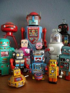 collection of toy robots