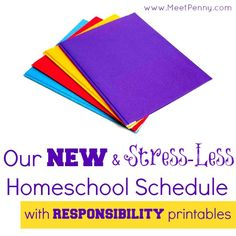 A sample homeschool schedule - click through for links to printables for stressing less during your homeschool day