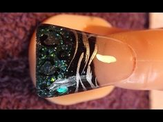 Quick teal and black acrylic nail design. I use black acrylic, and teal glitter to make a cheetah & zebra acrylic design on a flare / duck tip. Green Nail Art, Black Nail Art, Green Nails, Teal Acrylic Nails, Acrylic Nail Designs, Nail Art Designs, Duck Feet Nails, Feet Nail Design, Flare Nails