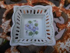 Vintage 1970s to 1990s Tiny Trinket Dish Square Purple Flowers Violets Andrea by Sadek Made in Thailand by KimsKreations17 on Etsy