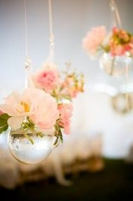 hanging votives with flowers - can do some candles too