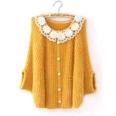 Lace Stitching Doll Collar Bat Sleeve Sweater Yellow$42.00 (4000 RSD) ❤ liked on Polyvore featuring tops, sweaters, outerwear, collar top, lace collar top, babydoll tops, lace tops and babydoll sweater