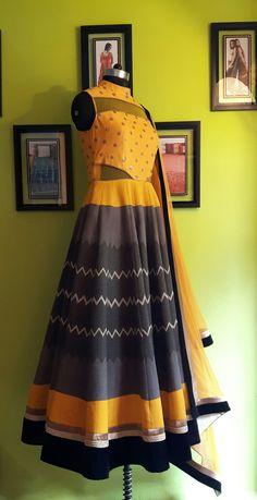 by A&N Screen Printed Dupion, Embroidered Dupion Body, Net Dupatta . Indian Wedding Gowns, Indian Gowns, Indian Suits, Indian Wear, Indian Style, Kids Blouse Designs, Kurta Designs, India Fashion, Diwali Fashion