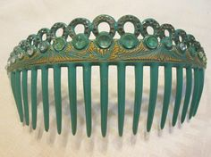 Spring Green Opaque Antique Celluloid Vintage Bandeau Haircomb