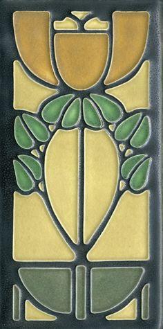 4x8 Bellflower in Green Oak by Motawi Tileworks