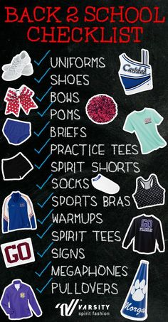 to School Checklist for your cheer or dance team! Missing anything? It's time to call your local Varsity rep who will save the day! Get ready for football season with Cheer Tryouts, Cheer Coaches, Cheer Stunts, Cheer Dance, Cheer Mom, Youth Cheer, Cheerleading Tips, High School Cheerleading, Cheer Backpack