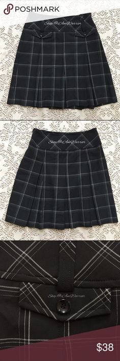 Ann Taylor Loft b&w plaid pleated skirt One of my personal favorite skirts! Cute black with off white plaid pattern and adorable button detail. Mint condition, smoke free home. Please read updated bio regarding closet policies prior to any inquiries. LOFT Skirts Mini