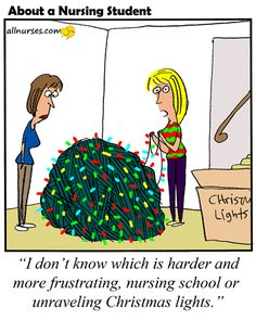 Cartoon: Which is more frustrating? Christmas lights or nursing school?