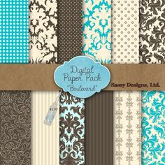 Boulevard Digital Paper Pack - love that khaki stripe.