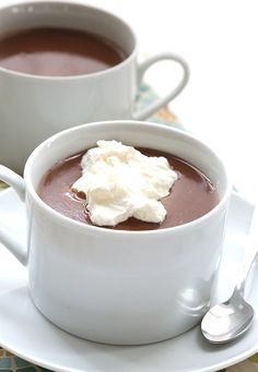 Chai spice drinking chocolate whipped cream
