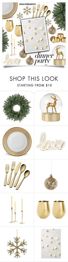 """""""#PolyPresents: Dinner Party"""" by catchsomeraes ❤ liked on Polyvore featuring interior, interiors, interior design, home, home decor, interior decorating, L'Objet, Shishi, Pottery Barn and True Fabrications"""