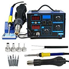 10 Minute Sleep Function LED Temp Display C//F Programmable Switch Cleaning Flux Plus 6 Asst Soldering Tips X-Tronic Model #3040-XR3-75 Watt Soldering Station Iron Holder with Brass Tip Cleaner