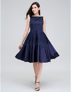 TS Couture® Cocktail Party Dress A-line Bateau Knee-length Lace / Stretch Satin with Appliques / Beading / Lace 4242947 2016 – $79.99