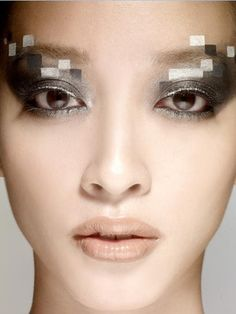 monochromatic 'pixelated' eye makeup