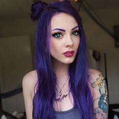 @courtneydawne_ may just be the most adorable person in the entire damn world  She uses Extreme Purple on her lovely strands  #overtone #extremepurple #cutenessoverload