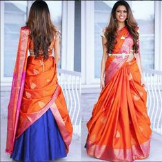 19 ideas bridal lehenga dupatta style for 2019 Ghagra Saree, Lehenga Saree Design, Lehenga Style Saree, Saree Look, Saree Dress, Bridal Lehenga, Anarkali, Frock Dress, Half Saree Designs
