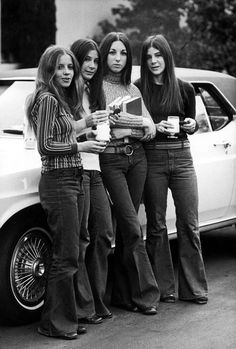 What Jeans Looked Like the Year You Were Born - Denim Jeans Through the Years | 1970 | Four high school girls wearing Landlubber jeans, an ultra-popular brand in the '70s.