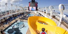 Mickey's Pool on @disneycruiseline #DisneyFantasy. #mickeymouse #pool #disney #disneycruise #vacation #cruise #familyvacation #slide #waterslide