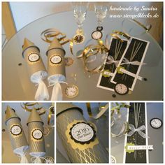 Silvester Tisch-Deko 2016 New Year's table decoration 2016 – stamping, punching and handicrafts with Stampin 'Up! Party Table Decorations, New Years Decorations, Decoration Table, New Years Eve Dinner, New Years Eve Party, Stampin Up, Deco Nouvel An, Diy Silvester, New Year Table
