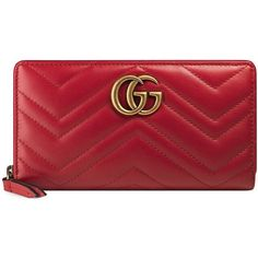 Gucci GG Marmont Matelassé Leather Zip-Around Wallet (12,155 MXN) ❤ liked on Polyvore featuring bags, wallets, apparel & accessories, red, red wallet, gucci, red bags, red leather bag and card slot wallet