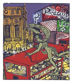 "Tobias Till ~ ""P"" Piccadilly from London A-Z Complete Boxed Set (2012) ~ Linocut, Somerset satin 250 gsm paper, 41.5 x 37.5 cm"