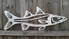 This Snook Classic metal game fish art sculpture is simple and clean. Made from plasma cut aluminum and then hand polished. Perfect for any office, man cave, living room or outdoor bar area.  This measures about 30 inches long and is easy to hang with 2 nails or screws.