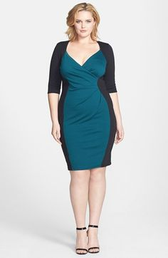 Scarlett & Jo Colorblock Wrap Front Sheath Dress (Plus Size) available at #Nordstrom