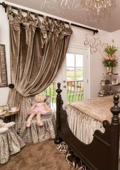 Luxury Curtains and Window Treatments by Reilly-Chance Dining Room Curtains, Living Room Drapes, Tab Curtains, Luxury Curtains, Luxury Bedding, Modern Bedding, Celebrity Bedrooms, Rideaux Design, Beautiful Curtains