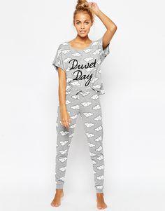 Image 4 of ASOS Duvet Day Cloud Print Tee & Legging Pajama Set