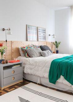 quartos decorados pinterest cabeceira de madeira