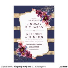 Elegant Floral Burgundy Navy and Gold Wedding Card Burgundy, navy and gold wedding invitation with the modern stripes and Marsala flowers design. Perfect invitation for the evening summer or late fall wedding!