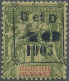 Guadeloupe, Michel Yvert 54 a - 1904, 40 C. on 1 Fr. olive ovpt. type 1 of 1903, mint never hinged MNH, fine and very fresh, photo-cert. Bernard Behr (1997)