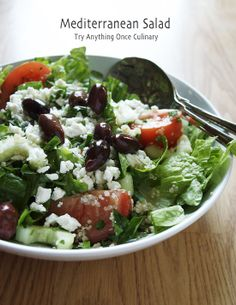 This mediterranean salad is complete with feta cheese, fresh cucumbers and kalamata olives.
