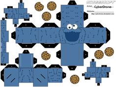 Cubee - Cookie Monster by CyberDrone.deviantart.com  Use for a feed and count the cookies game. (feed cookie crisp cereal)